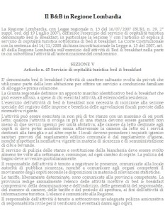 Il B&B in Regione Lombardia